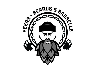 Bears, Beards & Barbells beers branding logo gym weights beards beer