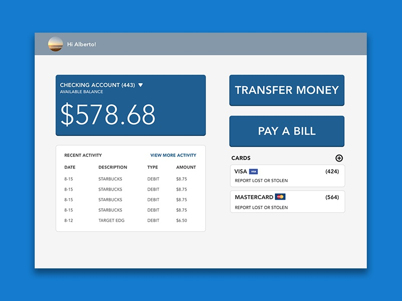 Banking UI Challenge web design bank online ui banking