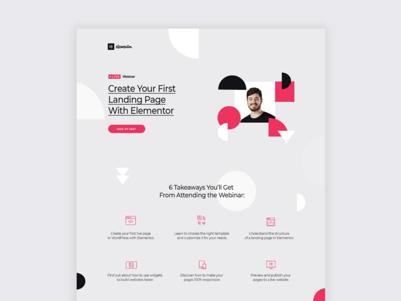 Webinar Landing Page Design vector workshop pattern design patterns landing page design landing page landingpage ui graphic design elementor brand art illustration design