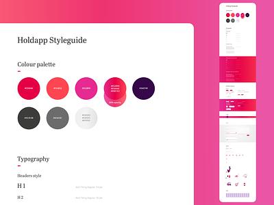 HOLDAPP Styleguide typography colour pallete website webdesigner ux  ui styleguide webdesign user interface ui