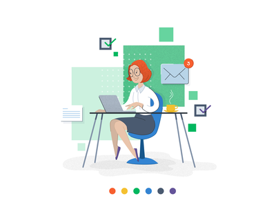 Red hair accountant character design illustrator drawing ui design vectors illustration vector illustration