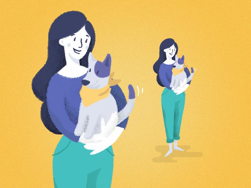 Doggo dog lady lady doggo dog ui vector character design vector illustration illustration