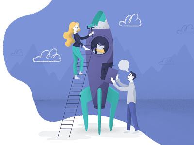 Sky is the limit rocket dog design ui vectors vector character design vector illustration illustration