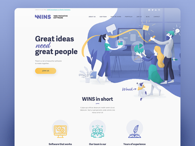 WINS – software house website homepage webdesign website ui character design vector illustration illustration