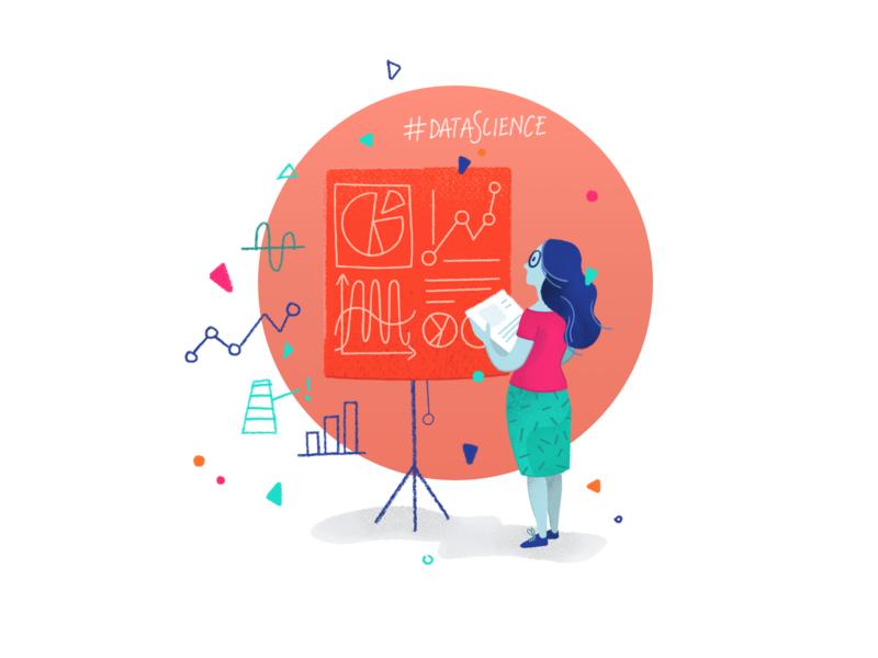 Data Science data science scientist whiteboard charts chart vector vectors character design vector illustration illustration