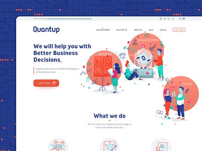 Quantup website ui design webdesign website character design logo branding vector illustration ui illustration