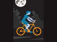 Bike in the moon illustration bicycle bike night moon