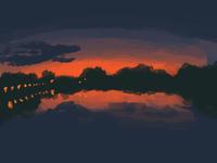 sunset oil photoshop illustraion sunset