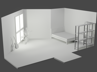 An unfinished room room bed architechture furniture blender 3d