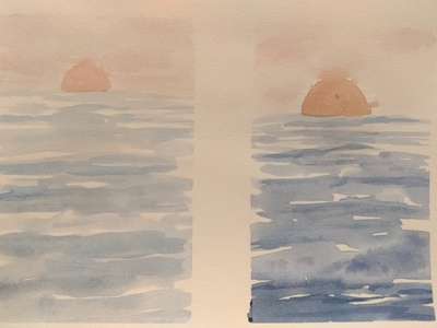 Watercolor sunsets abstract sunset watercolor sea