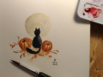 watercolor pumpkins moon black cat cat halloween pumpkin watercolor