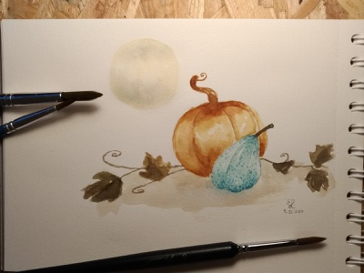 Blue Pumpkin halloween pumpkin watercolor