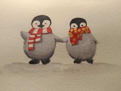 Watercolor pinguins animal cute christmas winter snow pinguin watercolor painting aquarell watercolor