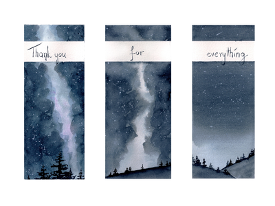 Night Sky Thank You milkyway night sky stars sky night illustration watercolor
