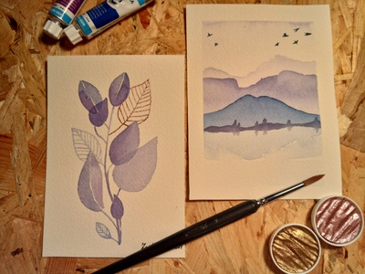 Watercolor Study watercolor layers watercolor layers leaves landscape mountain illustration watercolor