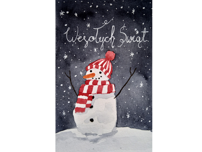 Snowman night card watercolor snowman christmas card christmas