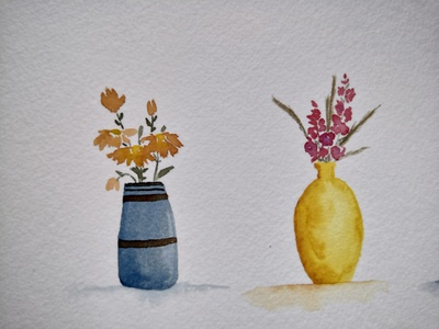 Vases warm aquarell flowers vase illustration watercolor