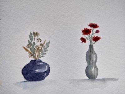 Vases cool illustration vases flowers aquarell watercolor