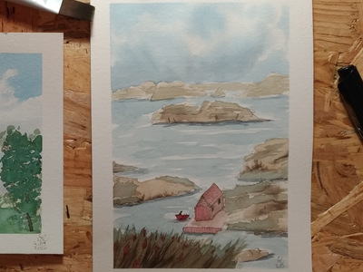 End of the world seaside water watercolors ocean watercolor