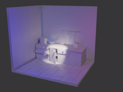 Kitchen remake clay light evee blender cartoon architechture 3d