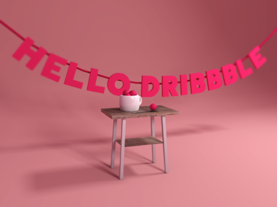 Hello Dribbble! furniture 3d dribbble hello