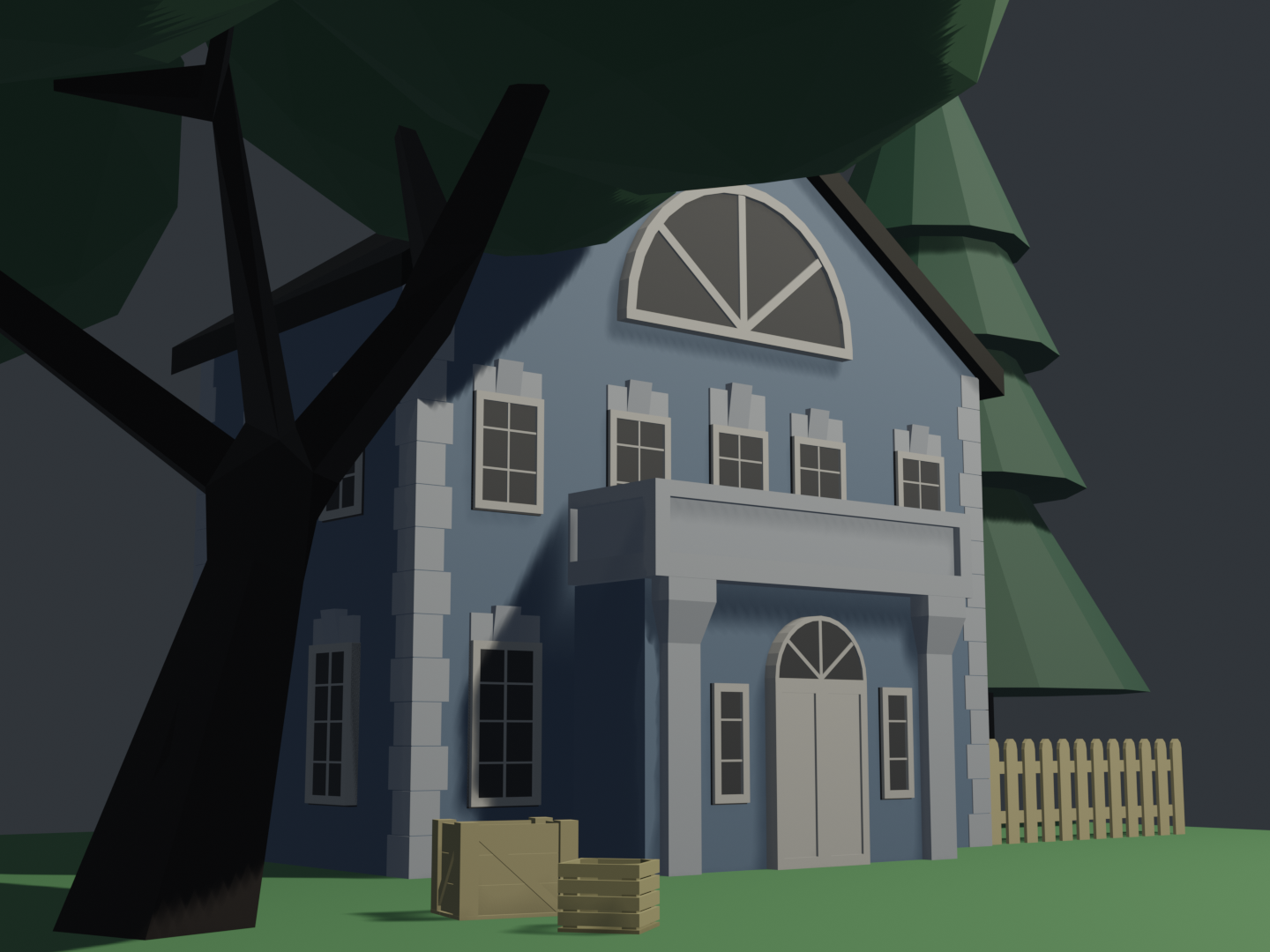 Low poly willa low poly blender architechture 3d