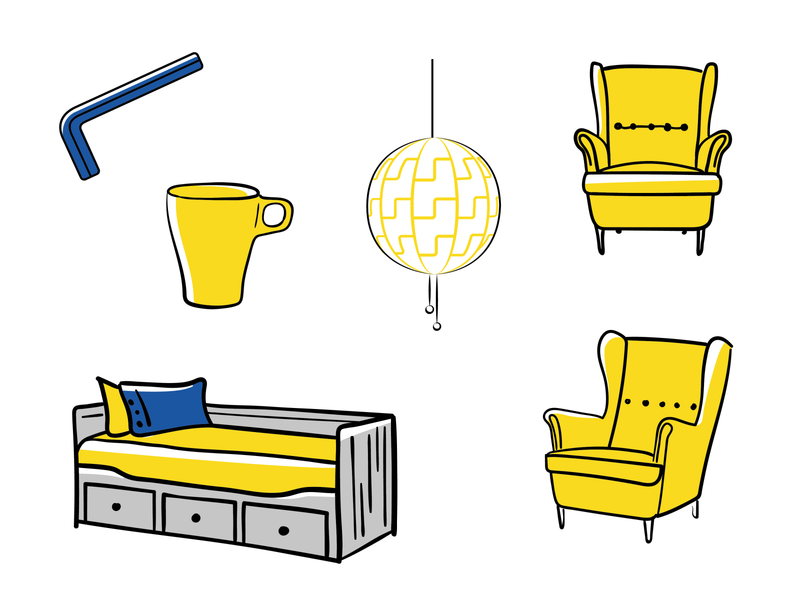 Pieces of furniture ikea armchair yellow vector graphic furniture illustrator vector