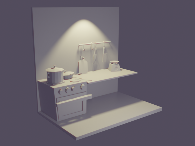 Kitchen Scene lowpoly oven kitchen furniture illustration blender 3d