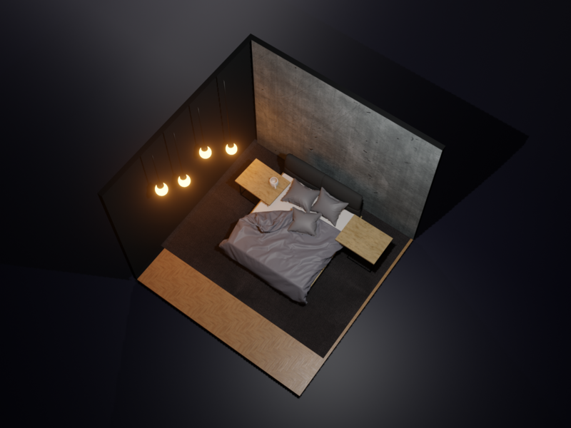 The Bedroom night scene night bed room furniture illustration blender 3d