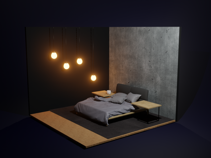 The Bedroom lights night scene bed furniture illustration blender 3d