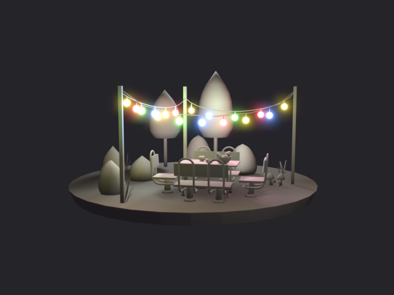 Garden at night scene 3d design night lihgts illustration autum blender 3d