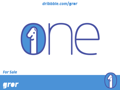 One Logo smile happy fun character nose big logoground logo design gror logo number 1 one