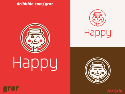 Happy Man Logo head smiley face smile mascot cartoon cute man happy for sale logoground logo design logo gror