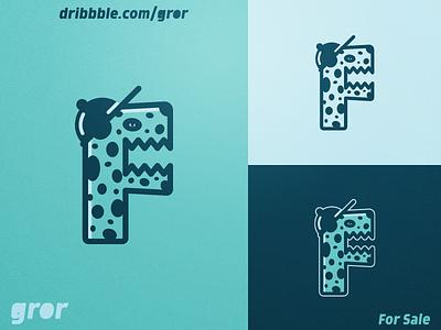 F Monster Logo creature character f letter cartoon mascot for sale logoground logo design logo gror