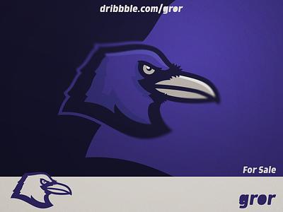 Raven Logo ravens gaming craw raven bird for sale head mascot sport esport logo design logoground logo gror