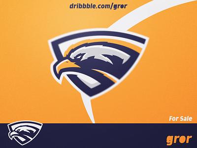 Eagle Shield Logo falcons eagles hawk shield eagle bird head for sale mascot sport esport logo design logoground logo gror