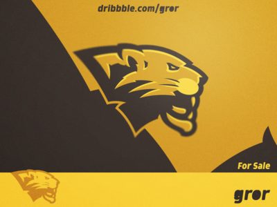 Golden Panther Logo wild cougar panthers feline hype golden gold panther head for sale mascot sport esport logo design logoground logo gror