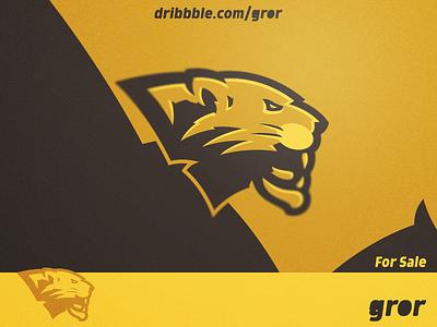 Golden Panther Logo wild cougar panthers feline hype golden gold panther head for sale mascot sport esport logo design logoground logo gror
