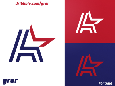 A & Star Logo stripe logotype american america uppercase star aaa usa type letter for sale logoground logo design logo gror