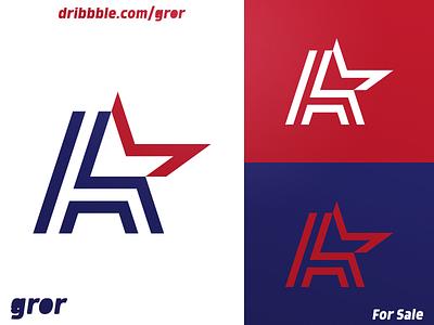 A & Star Logo stripe logotype american america uppercase star aaa usa type letter for sale logoground logo design logo gror