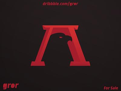 A Eagle Logo serif falcon hawk uppercase negativespace letter a aaa a eagle bird letter type head for sale logoground logo design logo gror