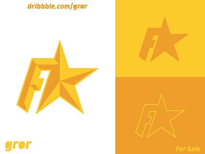 F Star Logo initial uppercase golden gold star letter f f type letter for sale logoground logo design logo gror