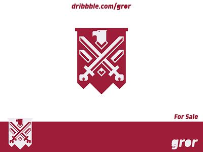Eagle Swords Shield Logo emblem sword swords wings wing shield falcon hawk eagle bird for sale logoground logo design logo gror