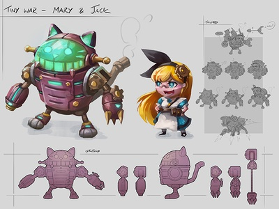 Character Concept: Mary and Jack characterdesign mech concept art digital painting art illustration drawing 2d art design character daftmobile daftcode