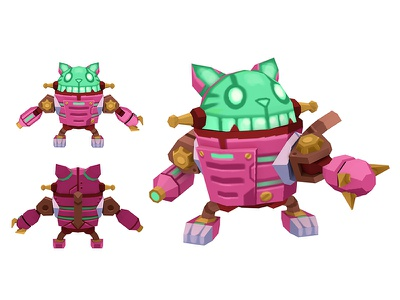 3d Character: Mary and Jack steampunk robot cat jack mary 3d mech art design character daftmobile daftcode