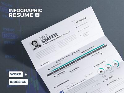 Infographic Resume/CV Volume 5 lebenslauf download us letter a4 template resume cv infographic