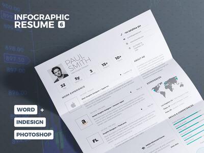 Infographic Resume Volume 6 modern creative word indesign photoshop us letter a4 template lebenslauf cv resume infographic