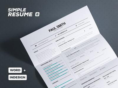 Simple Resume/Cv Volume 8 creative template lebenslauf curriculum vitae cv resume