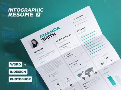 Infographic Resume/Cv Volume 7 curriculum vitae elegant clean template resume cv infographic