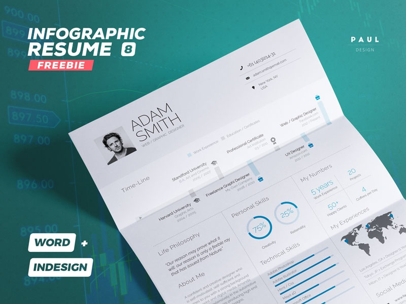 Freebie - Infographic Resume/CV Volume 8 By Paul